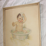 Baby Print Titled Smiling Through Charlotte Becker Circa 1920's Large Size