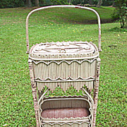Rare & Ornate Early Gothic Victorian Antique Stick Wicker Sewing Stand