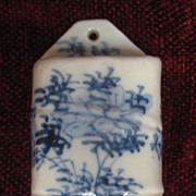 Porcelain Oriental Hanging Match Holder Circa 1900