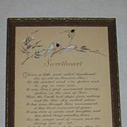 """Sweetheart"" Small Romantic Motto Print w/ Hand-Coloring of Birds & Floral Design"
