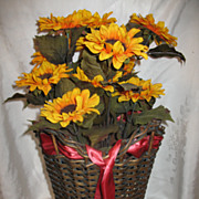 Shapely Wicker Basket with Original Gold Finish Circa 1920's