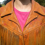 Rare Exceptional 1970's Ladies Tooled Leather  Fringed Jacket