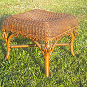 Very Rare Antique Natural Wicker Footstool Circa 1880's Heywood Brothers Company