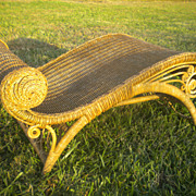 Very Rare Antique Natural Wicker Footstool Circa 1890's
