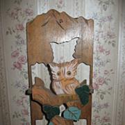 Unique Wooden Owl Letter Holder Original Colors Circa 1920's