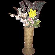 Wicker Tall Vase with Original Metal Liner Circa 1900