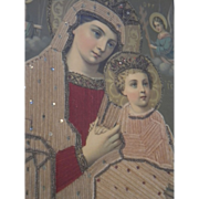 Rare Religious Mary and Jesus Stitchery Circa 1920's