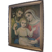 Antique Holy Family Lithograph Large Size Circa 1900