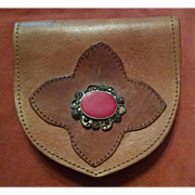 Vintage Leather Pouch Worn on Belt Circa 1940s