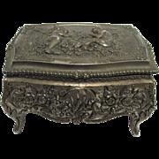 SALE Jewelry Keepsake Box Cast Metal Repose Lid and Sides