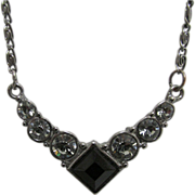 Onyx and Rhinestone Necklace