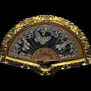 Antique Fan in  Ornate Fan Shaped Frame