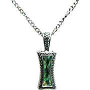 "Necklace 26"" Chain Green Faceted Strass Pendant"