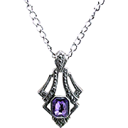 Necklace with Marcasite Pendant Inset Amethyst Strass