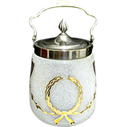SALE Biscuit Barrel or Jar American Glass  Art Nouveau