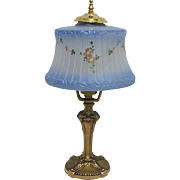 Antique  Blue Frosted & Painted  Glass Table Lamp
