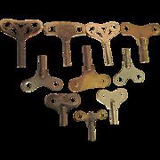 SALE Ten Antique Clock Keys