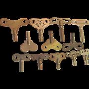 SALE Clock Key Total of 12 Antique Keys