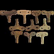 SALE Ten (10) Antique Clock Keys