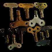 SALE Clock Keys Assortment of Twelve for Antique Wall and Mantel Clocks