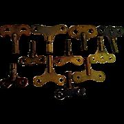 SALE Brass Antique Clock Keys Total of Twelve (12)