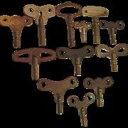 SALE Antique Clock Keys Assortment of Twelve