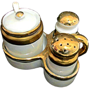 REDUCED Lusterware Condiment Set Salt and Pepper in Tray