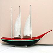 REDUCED Three Mast Wood Schooner American Folk Art