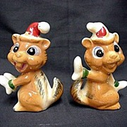 SALE Chipmunk Salt and Pepper Christmas Set