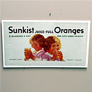 Sunkist Orange Juice Lithograph Advertising Sign 50% OFF