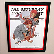SALE The Marble Champ 1939 Framed Saturday Evening Post Cover 50% OFF