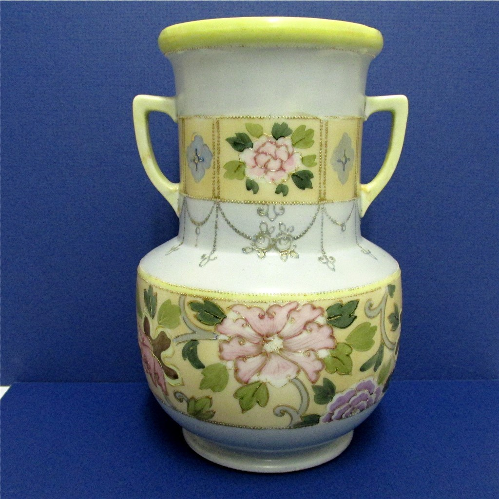 Vase Nippon Porcelain Hand Painted Flowers and Gold Beading