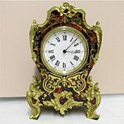 Boulle Clock French Miniature Table, Mantel, Shelf or Desk Clock