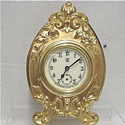 Gold Gilt Waterbury Clock Co. Mantel, Desk, Table or Shelf Clock
