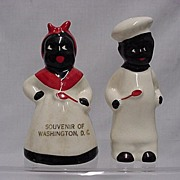 REDUCED Black Chefs Salt and Pepper Set  Souvenir of Washington DC Shakers