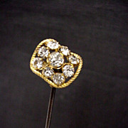 """Hatpin Gold Gilt 10 1/2"""" long with Brilliants  $100"""