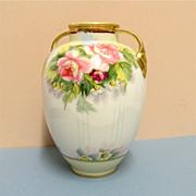 Nippon Vase Hand Painted Peonies