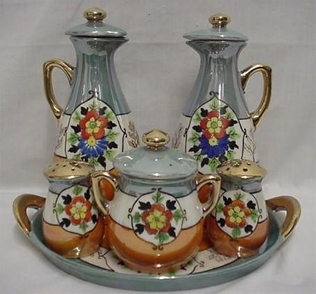Cruet or CondimentSet Takito Porcelain Complete Set Oil, Vinegar, Salt,Pepper, Mustard and Tray