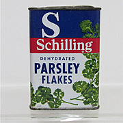Bargain Spice Tin Schilling Parsley Flakes Tin with Contents