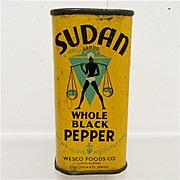Bargain Advertising Spice Tin Sudan Whole Black Pepper 1931