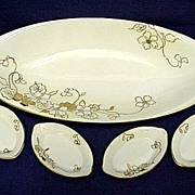 Nippon Celery Set White and Gold Pattern