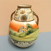 Nippon Vase Bisque Porcelain Hand Painted Antique
