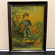REDUCED Framed Print Victorian Boy with his Sailboat