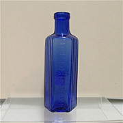 Cobalt Glass Poison Bottle
