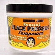 Milk Glass Beauty Jar Madame Jones  Black Pressing Compound