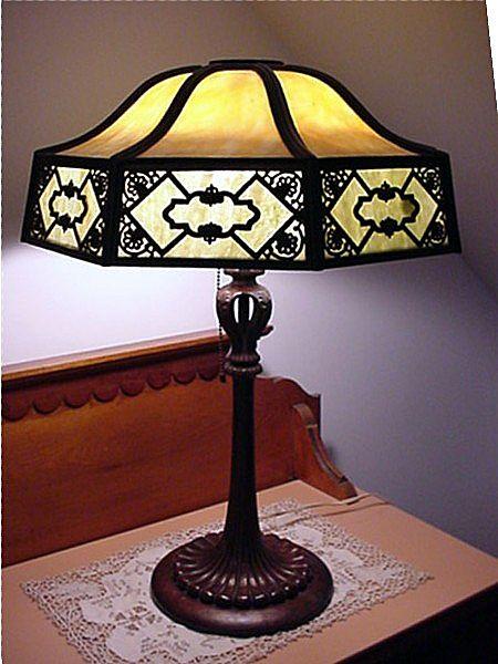 Antique Table Lamp Slag Panel