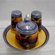Condiment Set $39 Lusterware with Hand Painted Scene
