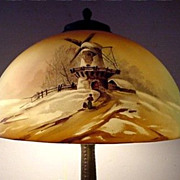 Antique Table Lamp by Pittsburgh Winter Scenic Obverse Painted Scenic Shade