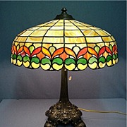 SALE Antique Leaded Glass Table Lamp