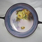 "Noritake Serving Dish 7 1/2"" with Handles Hand Painted Yellow Roses"